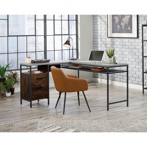 Market L-Shaped Desk In Walnut & Slate Grey