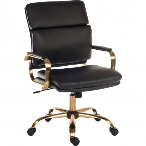 Vintage Black Faux Leather Office Chair