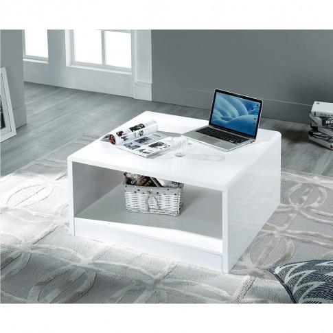 Square White Gloss Coffee Table - Manahattan