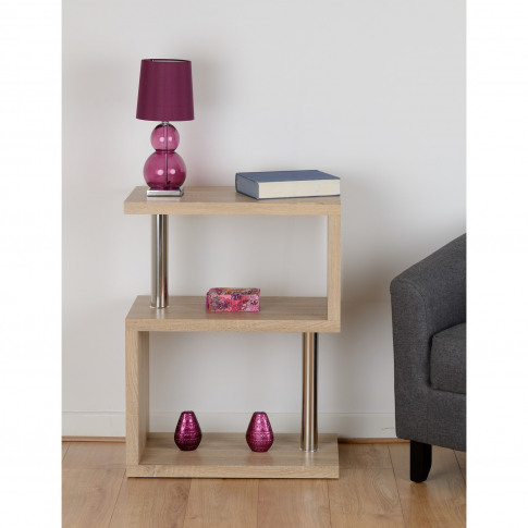 Charisma Side Table In Light Oak Effect With 3 Shelves