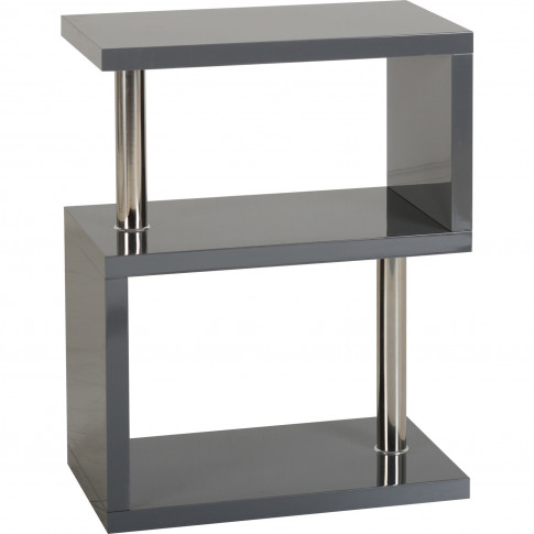 Charisma Side Table In Grey Gloss With 3 Shelves