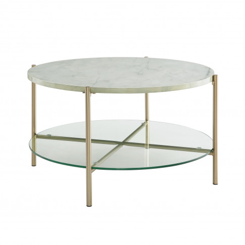 White Faux Marble Round Coffee Table With Gold Legs ...
