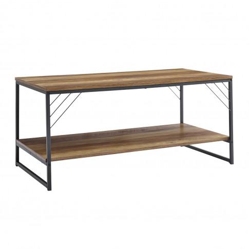 Industrial Coffee Table With Black Metal Base & Oak ...