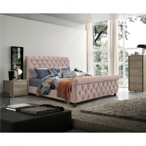 Anna Scroll Headboard And Footboard Double Bed In Pink