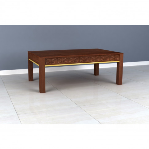 Dark Mango Wood & Gold Coffee Table - Artisan House