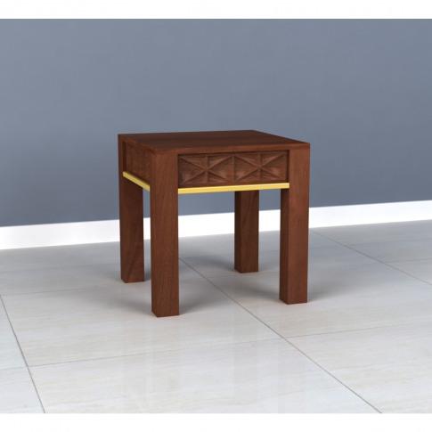 Dark Mango Wood & Gold Side Table - Artisan House
