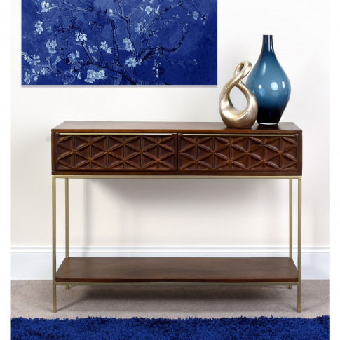 Dark Mango Wood Console Table With Gold Legs - Artis...