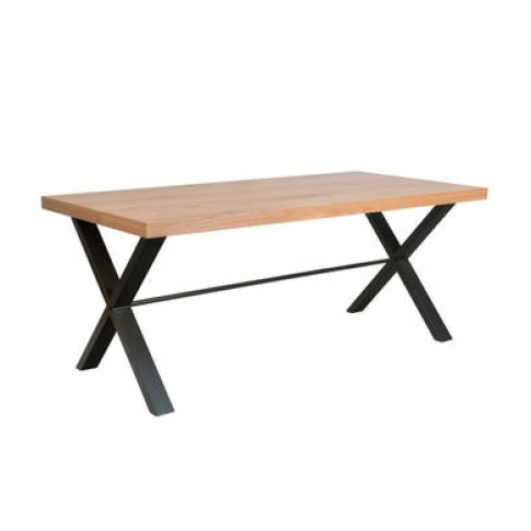 Industrial Dining Table With Wood Top & Black Legs -...