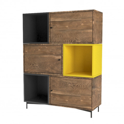 Modern Bookcase In Walnut Anthracite Grey And Yellow