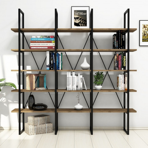 Large Industrial Bookcase In Walnut With Black Metal...