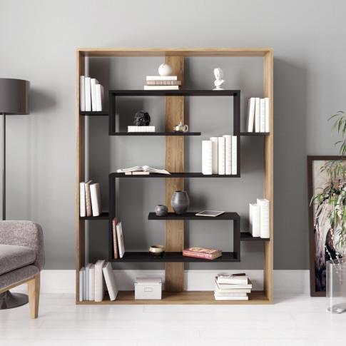 Geometric Bookcase In Black And Oak