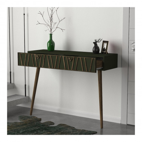 Walnut And Green Textured Console Table