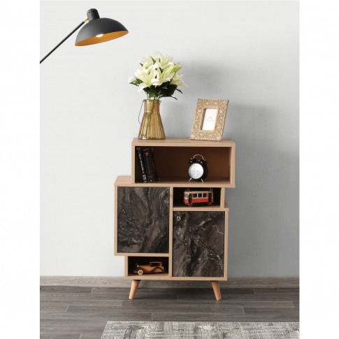 Small Wooden Display Cabinet With Black Marble Effect Doors
