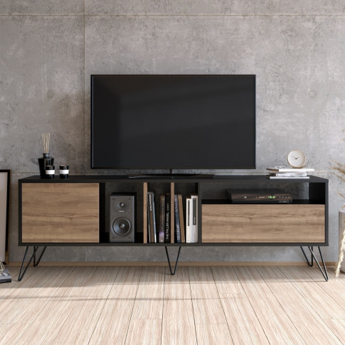 Walnut And Black Large Tv Stand