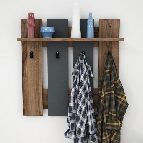 Wall Hanging Hallway Unit With Coat Hooks And Shelf