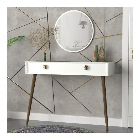 White Console Table With Walnut Details