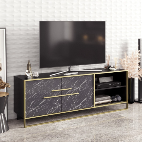 Gold And Marble Effect Tv Unit