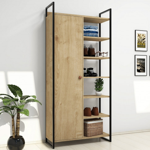 Pale Wooden Tall Hallway Unit With Shelving & Black ...