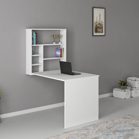 White Foldaway Wall Hung Study Desk