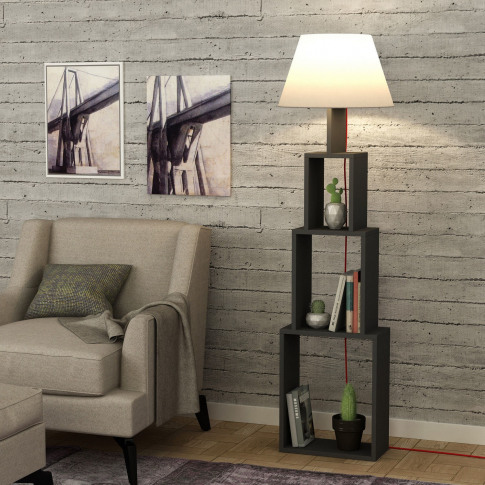 Floor Lamp With Storage In Dark Grey With Beige Lamp...