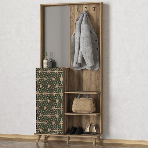 Wooden Tall Hallway Unit With Coat Hooks And Mirror