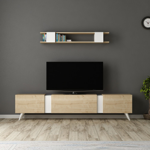 White And Oak Tv Stand With Wall Hanging Unit