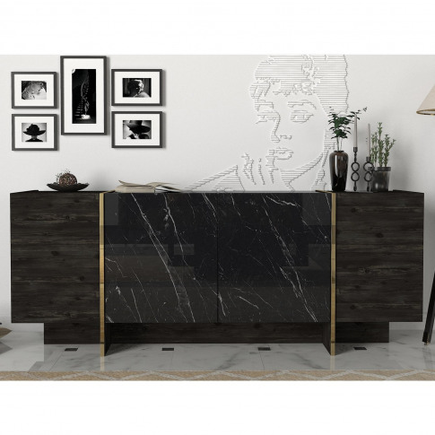 Black Marble Effect Sideboard With Gold Detailing