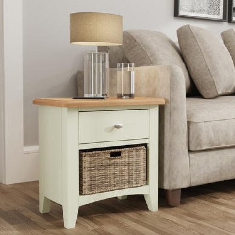 Bourton 1 Drawer 1 Basket Storage Unit In White And ...
