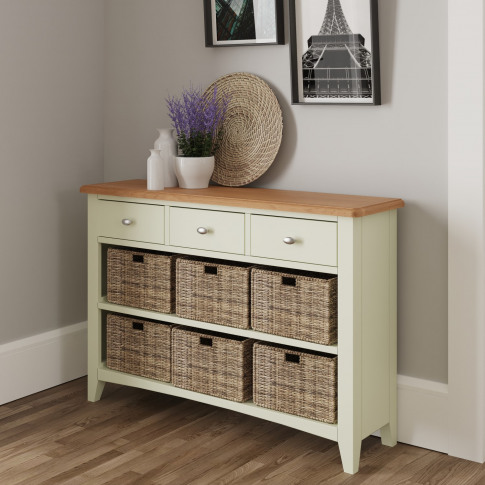 Bourton 3 Drawer 6 Basket Storage Unit In White And ...