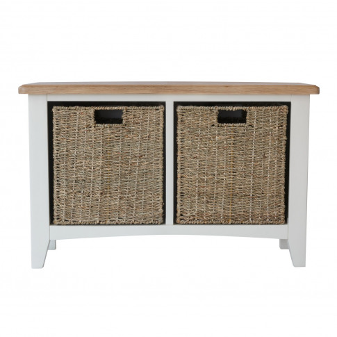 Bourton Hall Bench With Wicker Baskets In White And ...