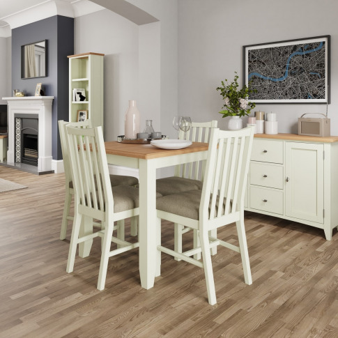Bourton Fixed Top Dining Table In White And Light Oak