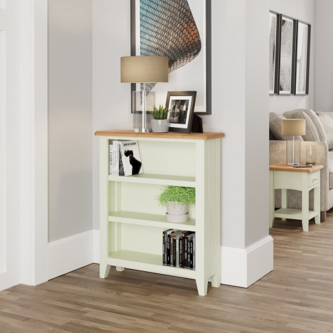 Bourton Small Wide Bookcase In White And Light Oak