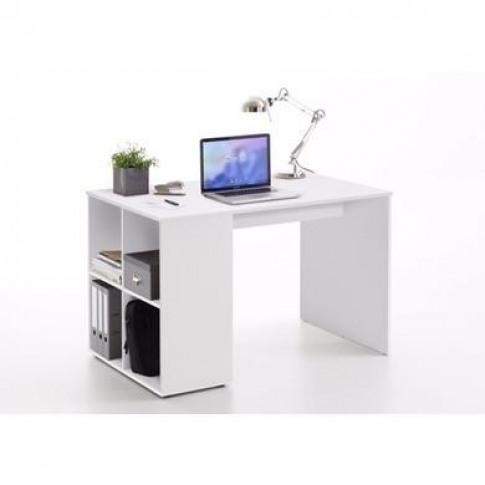 White Modern Office Desk With Storage Shelves - Gent