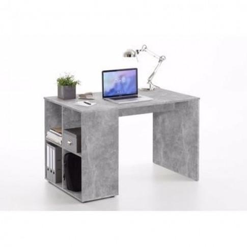 Grey Concrete Effect Office Desk With Storage Shelve...