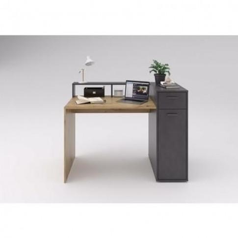 Office Desk In Artisan Oak With Grey Storage - Quebec
