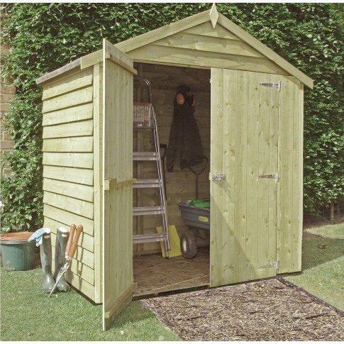 Wooden Outdoor Storage Shed With Double Doors 4ft X 6ft
