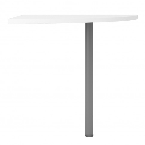 Prima Corner Desk Top In White With Silver Grey Stee...