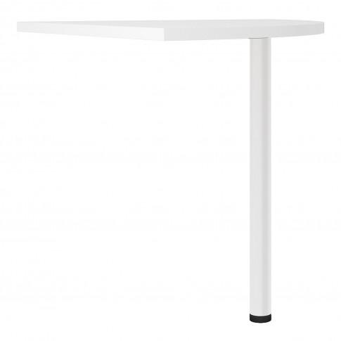 Prima Corner Desk Top In White With White Legs