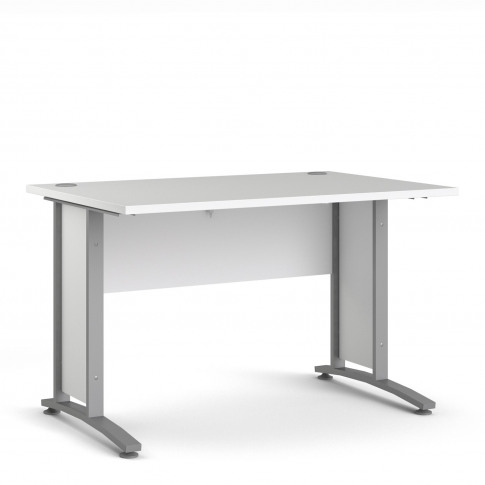 Prima Desk 120 Cm In White With Silver Grey Steel Legs