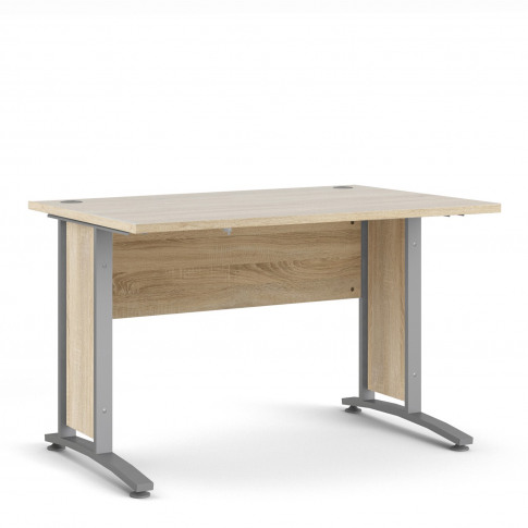 Prima Desk 120 Cm In Oak With Silver Grey Steel Legs