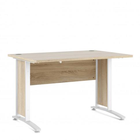 Prima Desk 120 Cm In Oak With White Legs