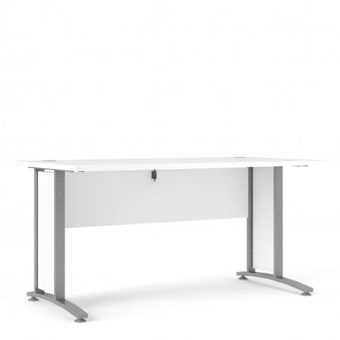 Prima Desk 150 Cm In White With Silver Grey Steel Legs