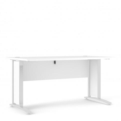 Prima Desk 150 Cm In White With White Legs