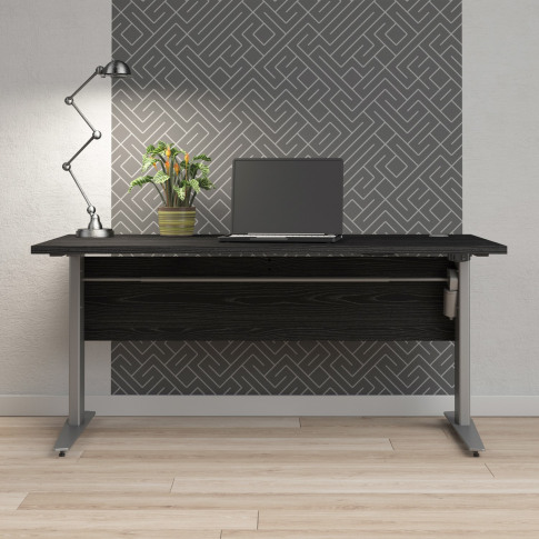 Prima Desk 150 Cm In Black Woodgrain With Height Adj...