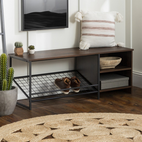Foster Industrial Entry Bench With Shoe Storage In D...