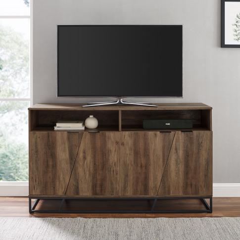 Foster Asymmetrical Sideboard Tv Stand In Rustic Oak