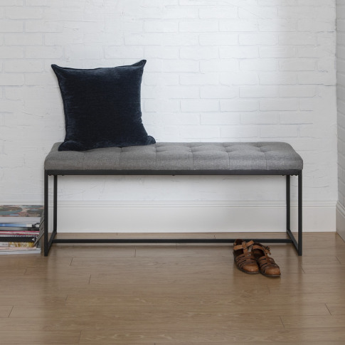 Foster Upholstered Tufted Hallway Bench In Grey