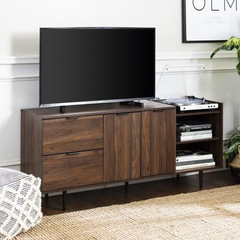 Foster Modern Storage Tv Stand In Dark Walnut