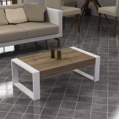 White And Walnut Coffee Table