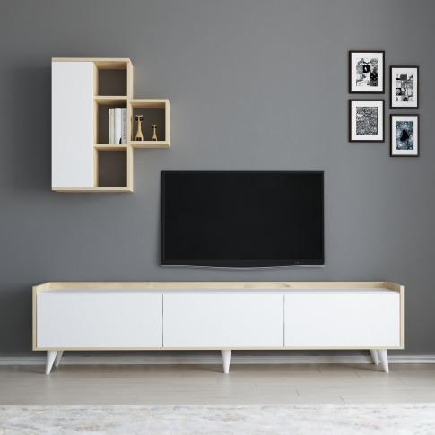 Zarif White Tv Unit With Wall Shelves